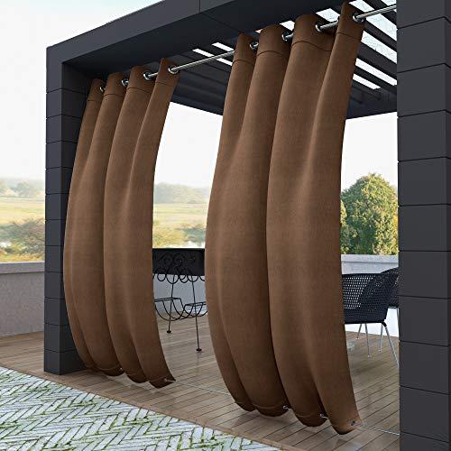 132x245cm marrón Cortinas para Exteriores con Ojales,Resistentes al Viento, Resistentes al Agua, Resistentes a la harina, para jardín, balcón, casa de Playa, vestíbulo, Cabana