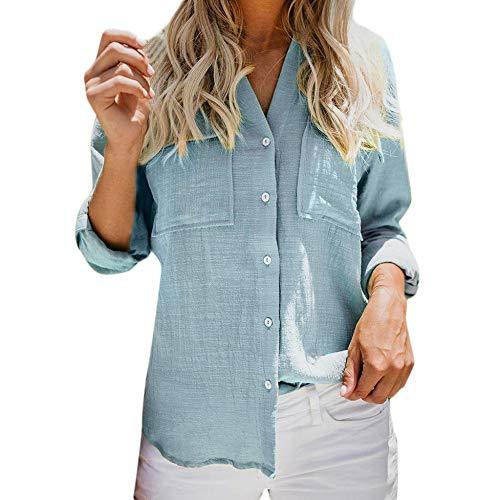 VJGOAL Damen Bluse, Damen Mode lässig passenden Farbe herbstlichen Langarm-Taste lose Kariertes Hemd Bluse Top T-Shirt (40, S-solide-Blau)