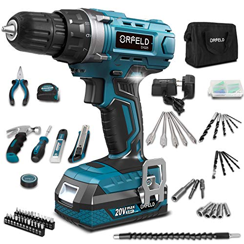 ORFELD Cordless Drill, Power Drill, Screw Driver, 20V Max Lithium-ion Battery, Japanese High-tech Motor, 165pcs Accessories, 19+1 Clutch, 2 Variable Speed, Built-in LED, Home Tool Kit for Beginner
