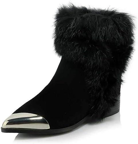 YUBIN Stiefel para La Nieve Antideslizantes, De Invierno, para damen, con Puntas De Nieve Antideslizantes, Camel, schwarz