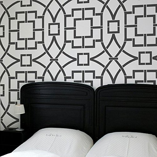 Tea House Trellis Allover Stencil - Large Stencils for Painting Walls – Try Stencils instead of Wallpaper – Modern Stencils for Wall Painting – Stencil Designs for DIY Home Décor – Best Stencils