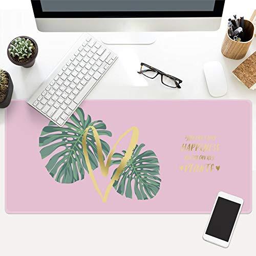 Muismat, zomer meisjes roze groen blad plant oversized waterdicht gewatteerde muismat toetsenbord meubel kantoor student tafelset geschenk 40x90cm