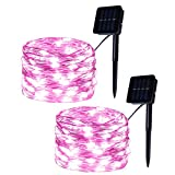 Set of 2 Solar Powered 100-LED String Lights, Pink Copper Wire Fairy Lights, Solar Garden Lights for Outdoor, Wedding Decoration