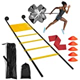 🏈Agility Ladder Speed Training Equipment - This agility training set includes an agility ladder, five cones, a parachute and one latex resistance miniband. The perfect set for any kind of drills and skills sharpening, improve fitness, agility, speed,...