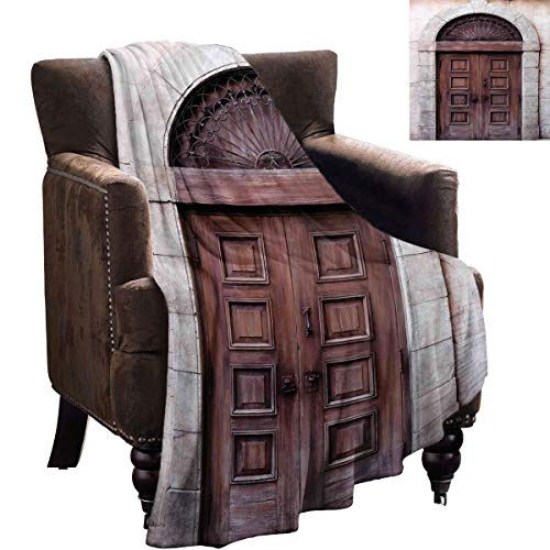 LanQiao Rustic Outdoor Blanket Arched Wooden Venetian Door with Eastern Royal Ottoman Elements European Culture Textured Solid Soft for Blanket 50'x30' Brown Cream
