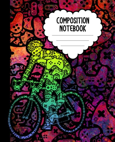 Composition Notebook: Video Game Controller Bike Notebook   Wide-Ruled, 7.5 x 9.25, 110 Pages Journal / Notebook For Kids, Teens, Gamers and Adults