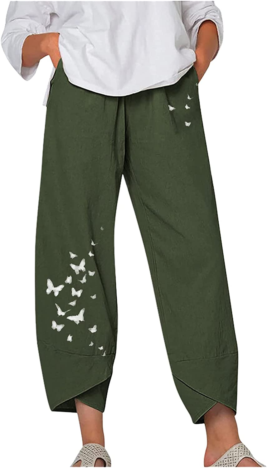 Johtae Industry No. 1 Wide Max 51% OFF Leg Pants for Casual Womens Elast Linen Women