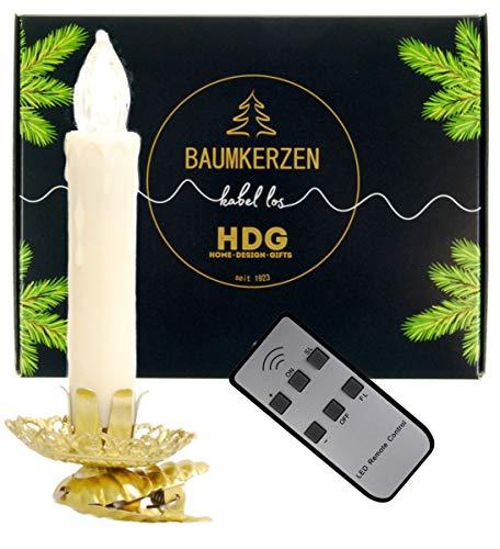 hdg Baumkerzen kabellos mit Fernbedienung - 8er Set LED Kerzen mit Vintage Clip Gold, Set:mit Baumkerzen in weiß
