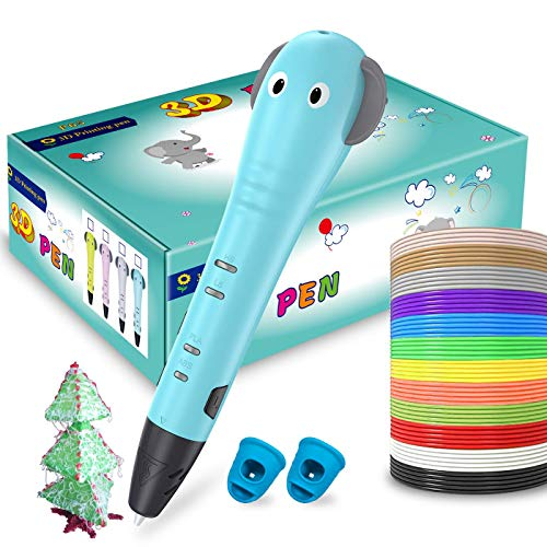 3D Pen for Kids, ERAY 3D Printer Printing Pen 3D Drawing Pen, Cartoon Design/ 12 Colors 118 Feet PLA Filaments/Non-Toxic/Safety to Use/Gift Box for Birthday Christmas Holiday (Blue)