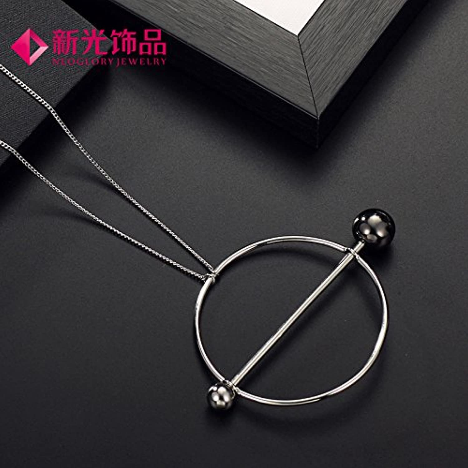 Neoglory Circle Round Metal Ball Necklace Pendant Long Chain Alloy Plating Environmental Sweater Chain Women Girls Tide Products