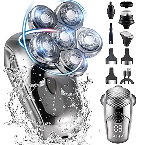 Head Shavers for Bald Men, Cordless Electric Head Shaver Wet&Dry, LALAHOO 5 in 1 Grooming Kit for Head and Facial, LED Display Bald Head Shaver for Man, Platinum