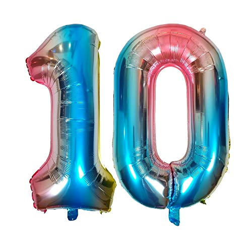 DIWULI, Globos de número XL, número 10, Globos de Color Azul Iridiscente Arco Iris, Globos de número, Globos de Papel de Aluminio número años, 10º cumpleaños, Fiesta, decoración