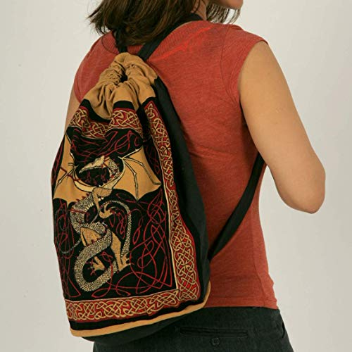 Handmade 100% Cotton Celtic Dragon Bag Backpack for Shopping Work School Flat Bottom 15x18 inches
