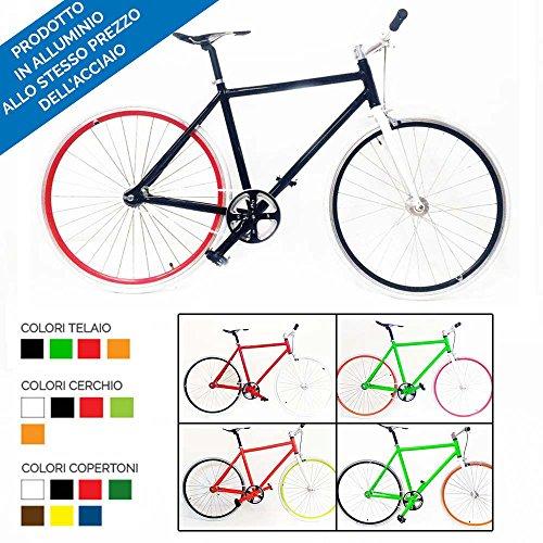 Bici Scatto Fisso Fixed Gear Bike in Alluminio con MOZZO Flip Flop in pi Colori