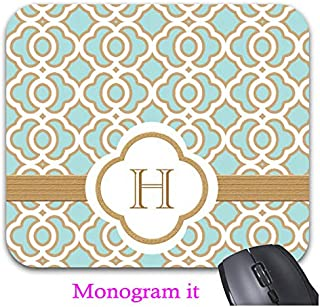 Eggshell Blue and Gold Moroccan Monogrammed Mouse Pad Trendy Office Desk Accessories - 9.82 x 7.84