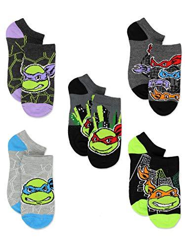 TMNT Teenage Mutant Ninja Turtles Boys 5 pack No Show Style Socks Set (Shoe: 10-4 (Sock: 6-8), Black/Grey No Show)