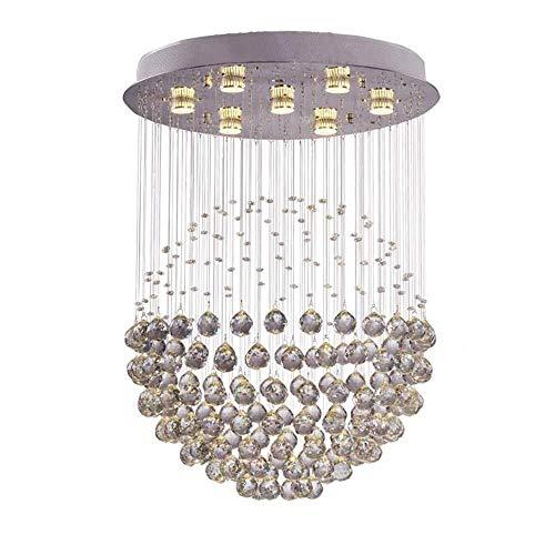 BXU-BG La luz LED de luz de techo de techo moderna cromo de plata de cristal acrílico pendiente de la luz Decoración luces pendientes (Color: Blanco, Tamaño: 30x50cm)