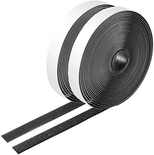 Filan - Rollo de cinta adhesiva de 1,9 cm con gancho y bucle para colgar cuadros y herramientas, color negro, 5 metros