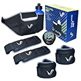 Verified Speed Agility Training Strength Leg Resistance | Waist Belt With Water Bottle | Hydration Belt | Home Workout Fitness Jogging Running Walking Set for Men Women | Includes Adjustable 1 Waist Belt Upto 34Inches, 1 Water Bottle, 1 Pedometer, 2 Adjustable Padded Ankle / Wrist Weight (0.5 Kg) | Total 5 Pc Set