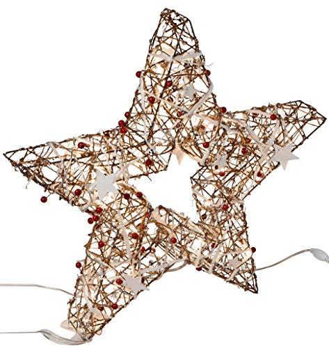 dekojohnson Deko LED kerstster staand met 40 LED-lampjes met witte sterretjes en parels versierd kerstster 50 cm groot