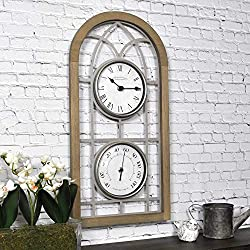 FirsTime & Co. Farmhouse Arch Outdoor Clock, 20H x 10W, Rustic Brown, Antique Silver