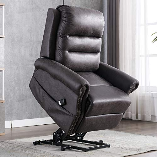 eclife Power Lift Recliner Chair Faux Leather for Elderly Lay Flat Sleeper Dark Grey Classic Ergonomic Lounge Chair Single Sofa with 2 Side Pockets for Living Room