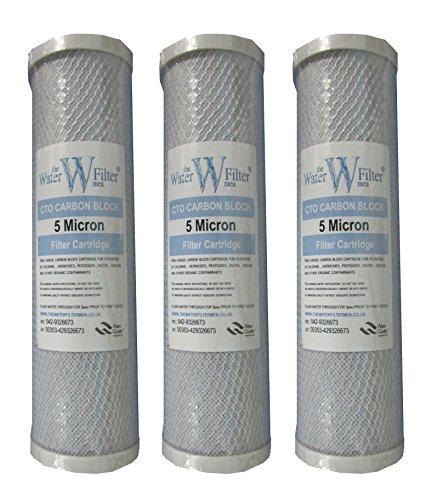Nature's Water Lot de 3 cartouches filtres à eau bloc de charbon pour système de filtre à osmose inverse 25 cm