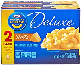Kraft Deluxe Original Cheddar Macaroni & Cheese Dinner (14 oz Boxes, Pack of 2)