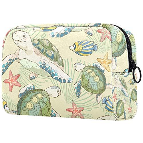 ATOMO Bolsa de maquillaje, bolsa de viaje cosmética de moda, bolsa de aseo grande, organizador de maquillaje para mujeres, peces de tortuga lindo
