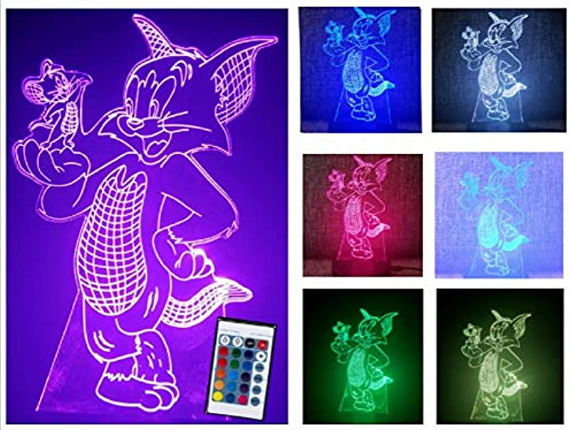 Creative 3D Tom And Jerry Illusion Lamp With Remote Control Timer Along With 7 Different Glowing Color For Kids Choice Support USB Cable Or 3 AAA Battery For Kids As Toys Or Night Lamp