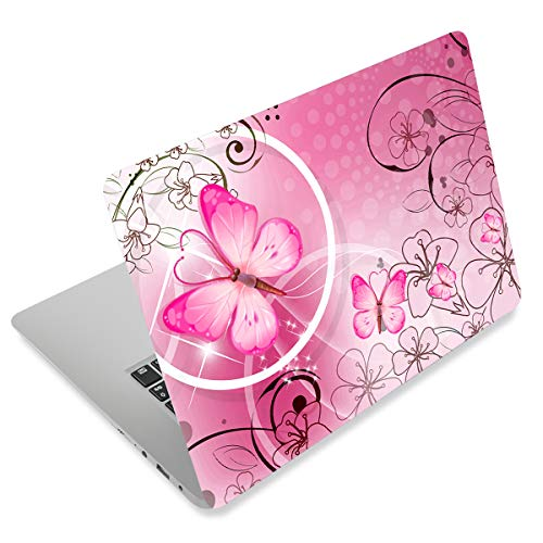 Pink Butterfly11.6 13 13.3 14 15 15.6 inches Netbook Laptop Skin Sticker Reusable Protector Cover Decal FY-NEK-009