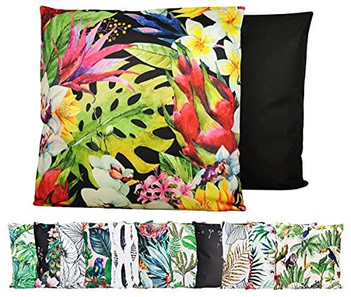 JACK XXL Outdoor Lounge Kissen 60x60cm Motiv Dekokissen inkl. Füllung Wasserfest Sitzkissen Garten Stuhl, Farbe:Dschungelpracht
