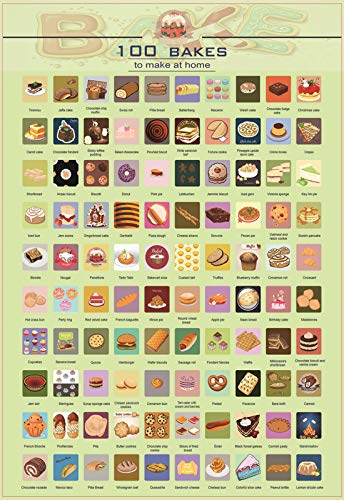100 Baking Scratch off Poster-- Top Baked Desserts and Food of All Time Buckle List,Wall Hanging Decoration 100 Things to do Scratch off Poster PicassPrin