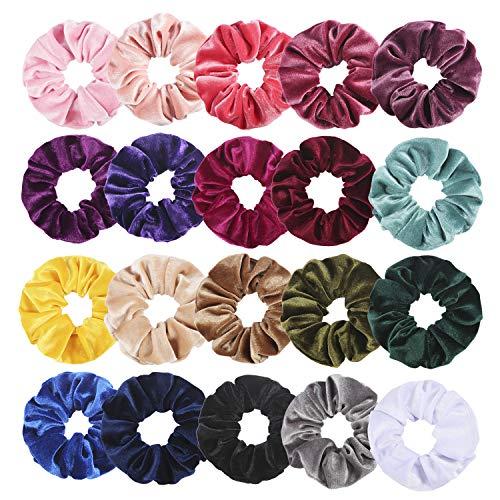 Wanap Scrunchies, 20 Stück Samt Haargummis Velvet Scrunchies für Mädchen, Blunte Dicke Koreanische Haar Scrunchies Set für Frisur mit Aufbewahrungstasche (Standard)