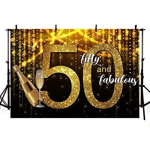MEHOFOTO Glitter Goud en Zwart Vijftig en Fabulous Photo Studio Booth Achtergrond Champagne Glas Bokeh Glanzende Volwassen Gelukkige 50e Verjaardag Party Decoratie Banner Achtergronden voor Fotografie 7x5ft