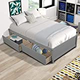 Dolonm Twin Platform Bed Frame with Storage Drawers Solid Pine Wood Bed Frame for Kids Teen,Easy Assembly (Gray)