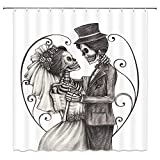 BCNEW Day of The Dead Decor Shower Curtain, Love Skull Skeleton Marriage Eternal Love Spanish Festive Print, 70x70 Inches Fabric Bathroom Decor Set with Hooks, Dimgrey White