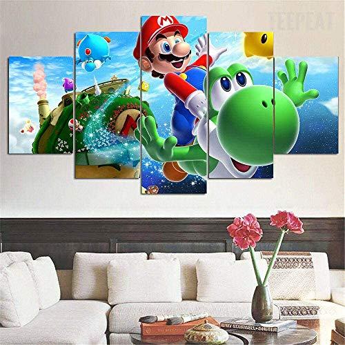 Lienzo decorativo para el hogar, figura de Super Mario Bros, 5 unidades, arte moderno giclée para salón, decoración, impresión fotográfica sobre lienzo, póster sin marco (30 x 40-30 x 60-30 x 80 cm)