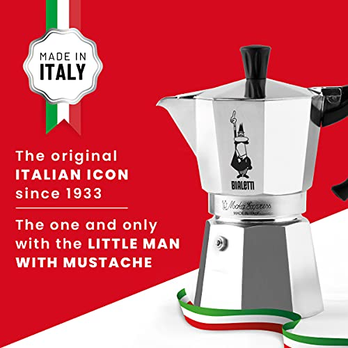 the Bialetti stovetop coffee maker with the Italian flag and MOMA logo