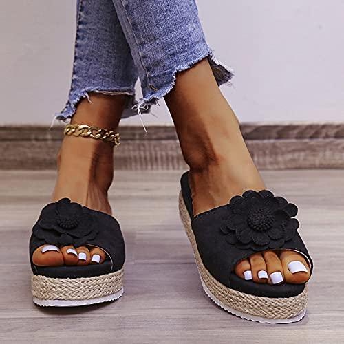 Hwcpadkj Sandalias Mujer Verano con Plataforma Flops Zapatillas Señoras Zapatos Sandalias y Pantuflas Romanas de Punta Abierta de Playa de Cuerda de cáñamo,Negro,36