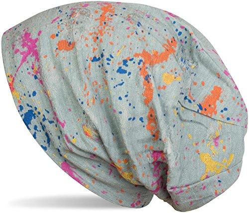 styleBREAKER Beanie Mütze mit Splat Style Farbklecks Muster im Used Look Vintage Design, Slouch Longbeanie, Unisex 04024118, Farbe:Mint