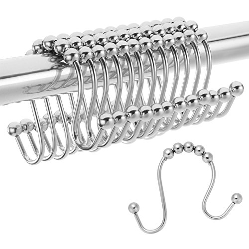 Amazer Shower Curtain Hooks Rings Double Shower Curtain Rings Stainless Steel Rust-Resistant Double Glide Shower Hook Rings for Bathroom Shower Rod Curtains, Polished Chrome, Set of 12 Hooks