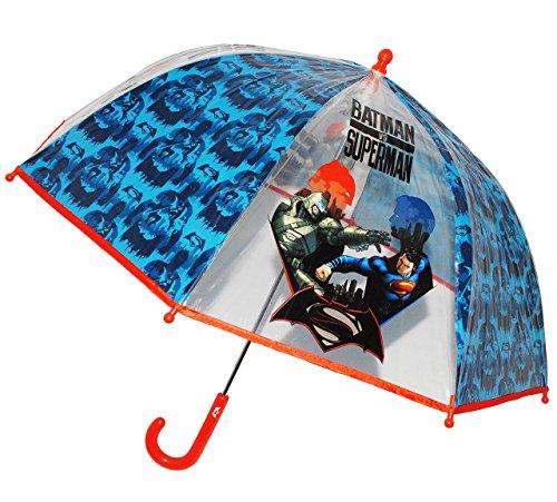 alles-meine.de GmbH Regenschirm -  Batman VS Superman  - Kinderschirm transparent - Ø 74 cm - Kinder Stockschirm - Schirm Kinderregenschirm / Glockenschirm - für Jungen - durch..