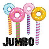(4) JUMBO ~ Inflatable Donut Lollipop Wonka CANDYLAND Pool Float Party Novelty Items Toys