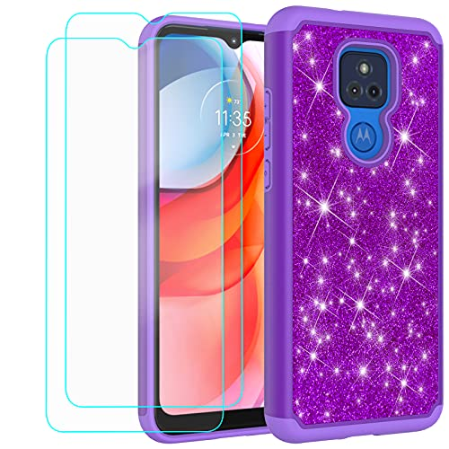 Glitter Case for Motorola Moto G Play 2021 | 6.5 Inch | Cute Sparkle Protective Cell Phone Basic Case for Girls Women | TPU+PC Anti-Shock Anti-Scratch Covers (Purple)