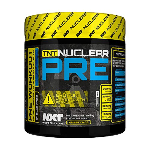 NXT Nutrition, TNT Nuclear PRE, Pre Workout Supplement for Men, Women, Advanced Formula Preworkout Powder, Energy Supplement That Does What it Says on The Tin 240 Grams (Blue Rasp)
