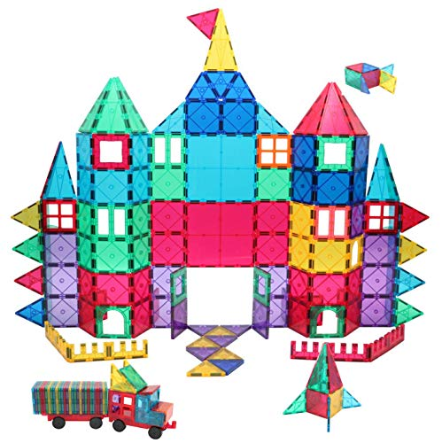 Manve Magnetic Building Blocks Tiles Toy, Magnet Toys 130 Pcs STEM Toddler Learning Toys Kit, Kids Educational Construction Engineering Toys Set