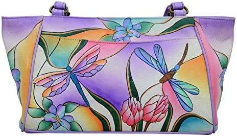 Anna by Anuschka Women s Leather Small Tote Handbag Hand Original Artwork Dragonfly Glass Painting product image