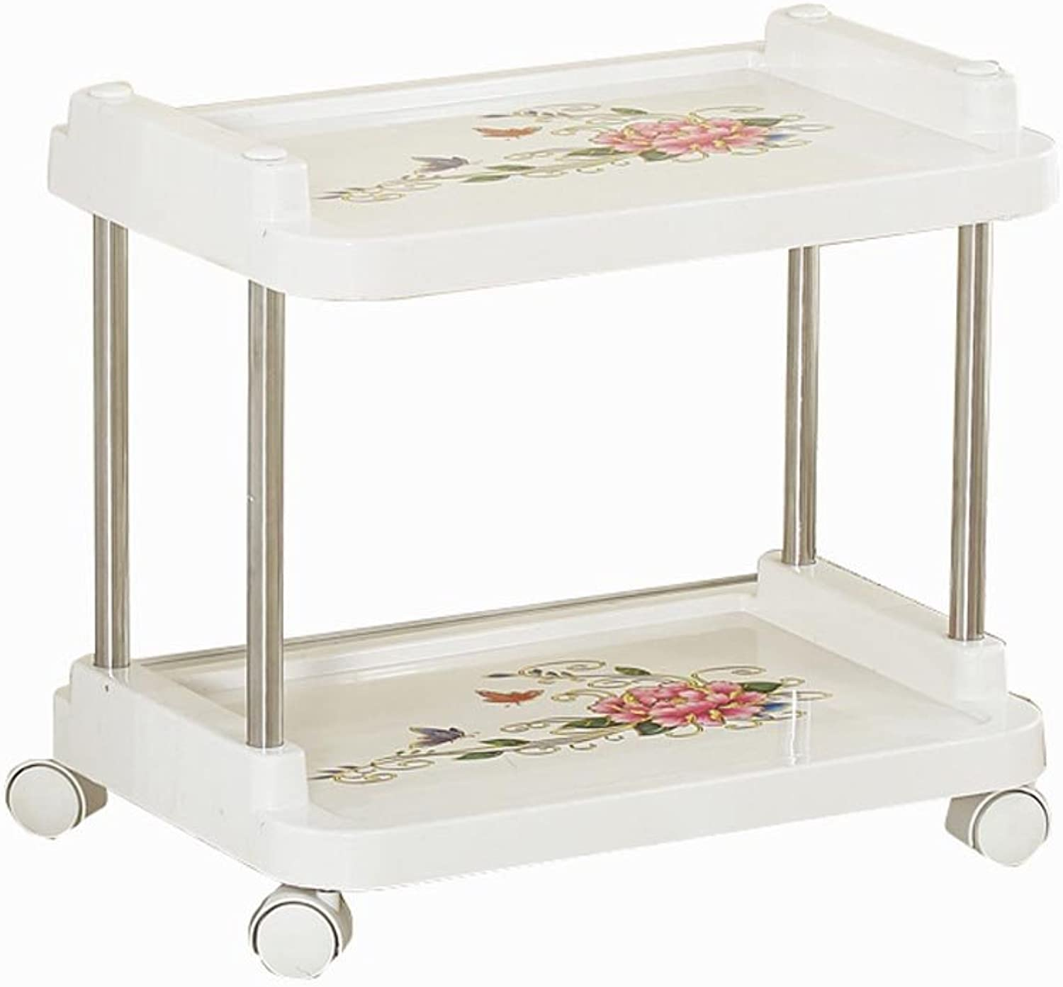 JU FU Cart Storage Rack Trolley-Multifunctional Beauty Car Hair Salon Trolley Home Kitchen Bathroom Tool Car Shelf @@ (color   White, Size   46  31  45CM)