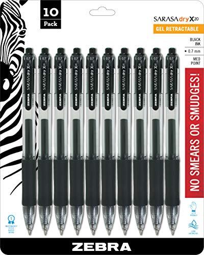 Zebra Pen Sarasa X20 Retractable Gel Ink Pens, Medium Point 0.7mm, Black Rapid Dry Ink, 10 Pack (Packaging may vary)